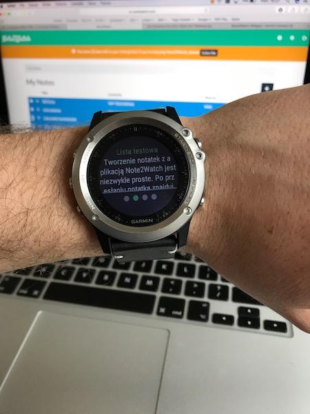 zegarek garmin notatka