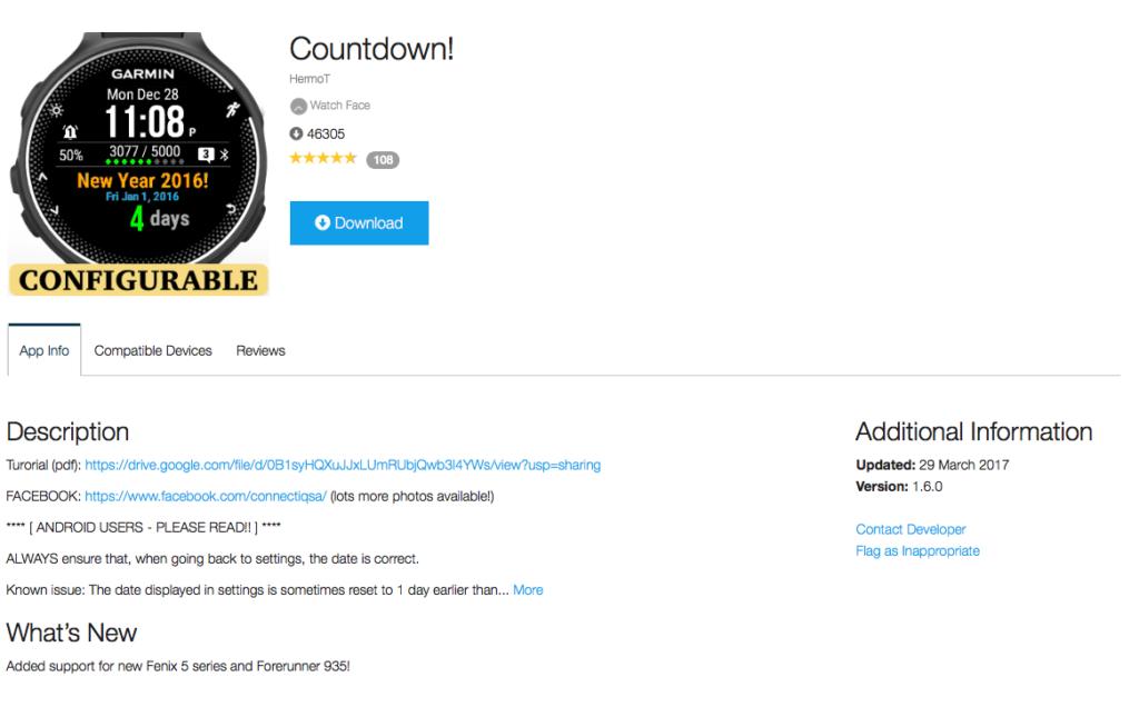 garmin countdown