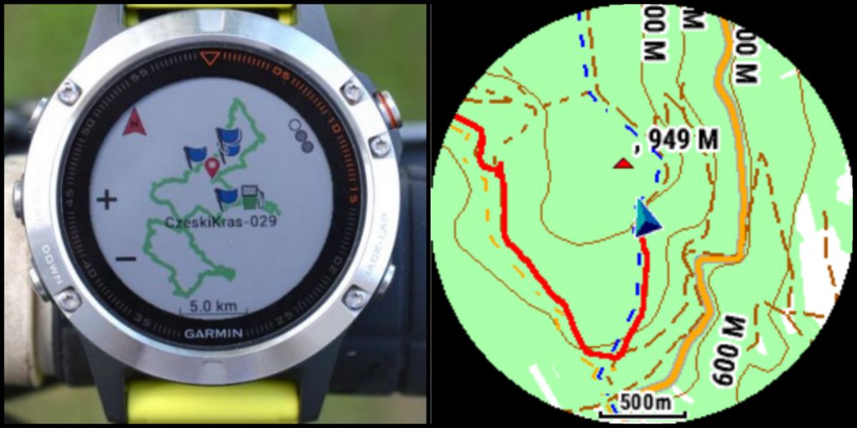 Garmin Fenix trasa i mapa