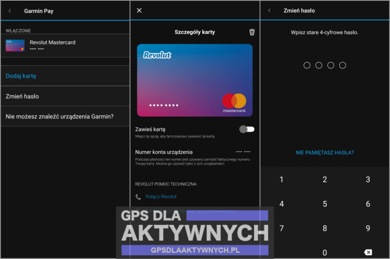 Garmin Pay konfiguracja karty
